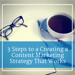 "Blank notebook with caption ""3 Steps to Creating a Content Marketing Strategy That Works"""